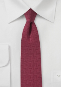 Slim Cut Herringbone Tie in Rosewood
