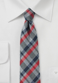 Casual Plaid Silk Tie in Gray, Navy, Red