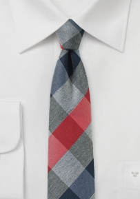 Slim Cut Designer Plaid Tie in Red, Navy, and Gray
