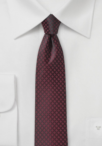 Black Skinny Tie with Burgundy Checks