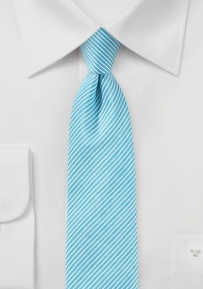 Sky Blue Linen Tie with Pencil Stripe Design