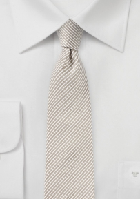 Skinny Linen Tie in Toasted Almond