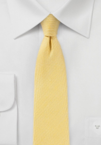 Skinny Linen Tie in Banana Yellow