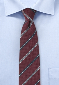 Oxblood and Navy Striped Skinny Tie