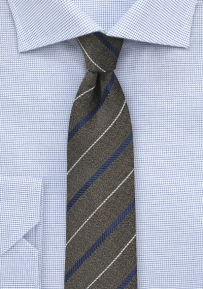 Skinny Wool Tie in Dark Brown and Navy