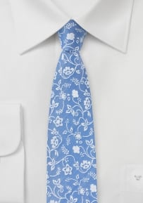Sky Blue Skinny Cotton Tie with Floral Design