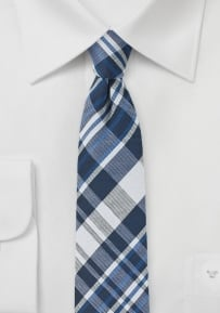 Narrow Mens Tie with Blue and Silver Plaid