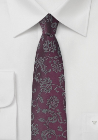 Silk Floral Tie in Prune Purple