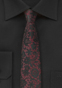 Burgundy and Black Floral Silk Tie