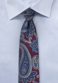 Skinny Paisley Tie in Plum, Navy, and Gray