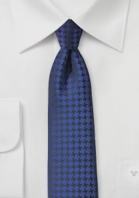 Contemporary Houndstooth Check Tie in Twilight Blue
