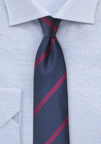 Navy Mens Tie with Classic Red Stripes