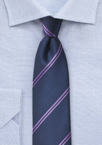 Navy Blue Tie with Lavender Double Stripes