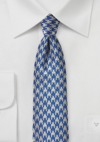 Light Blue and Silver Houndstooth Check Tie