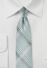 Silver, Mint, and Gray Plaid Summer Tie