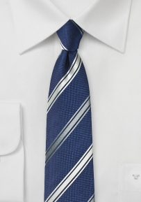 Contemporary Stripe Silk Tie in Navy and Silver