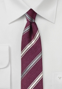 Wine Red Tie with Stripes in Champagne and Gray