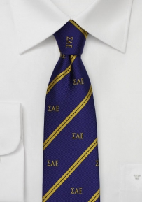 Crested Striped Skinny Fraternity Tie for SAE