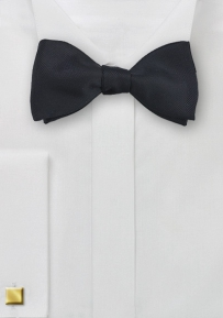 Formal Ribbed Black Bow Tie
