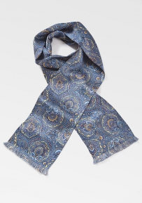 Elegant Moroccan Paisley Tie in Golds and Blues