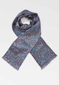 Luxe Moroccan Paisley Scarf in Reds and Blues