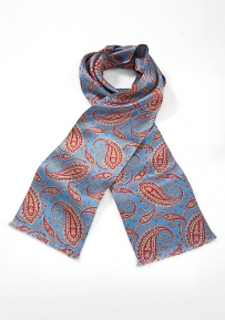 Luxe Paisley Scarf in Egyptian Blue