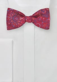 Bold Paisley Bow Tie in Bright Red