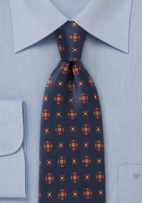 Elegant Floral Tie in Navy, Maroon, and Amber