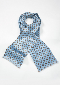 Luxe Patterned Silk Scarf in Powder Blue