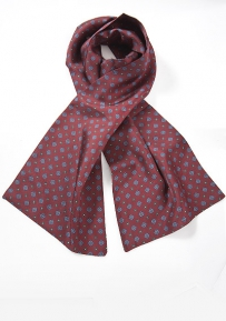 Burgundy Silk Scarf With Blue Accents