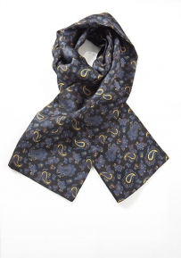 Luxe Paisley Scarf in Blacks, Blues and Golds