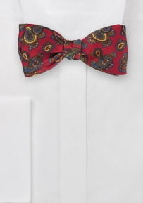 Imperial Red Paisley Patterned Bow Tie