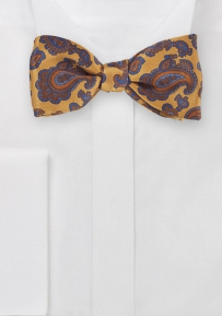 Ornate Paisley Bow Tie in Vintage Gold
