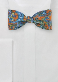 Paisley Designer Bow Tie in Brown and Purple