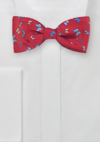 Red Silk Bow tie with Butterfly Design