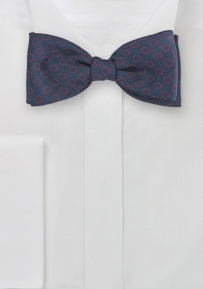 Silk Designer Bow Tie in Navy and Red