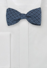 Geometric Dot Print Bow Tie in Navy Blue
