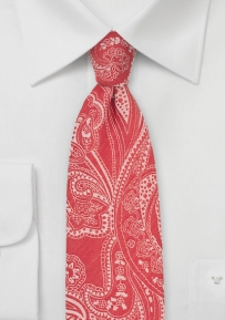 Dapper Bandana Print Cotton Tie in Red