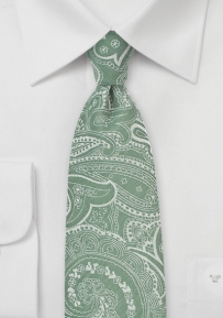 Shale Green Cotton Tie with Bandana Style Paisley Print