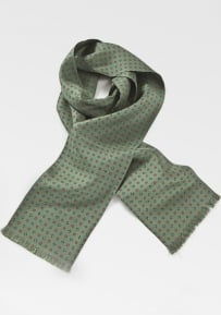 Fern Green Scarf with a Geometric Floral Pattern