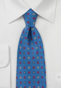 Marine Blue Tie with Red and Yellow
