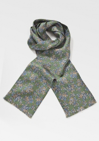 Dark Green Paisley Scarf in Blues and Copper