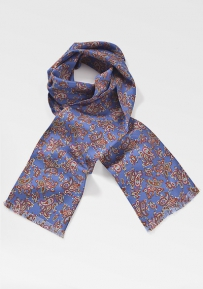Indigo, Red, and Brown Paisley Scarf