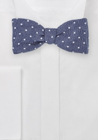 Blue Polka Dot Self-Tie Bowtie in Heritage Look