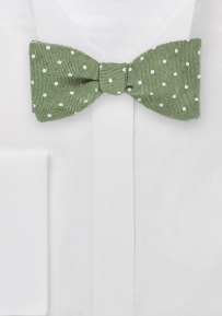 Polka Dot Patterned Designer Bowtie in Moss Green