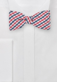 Designer Gingham Bow Tie in Pinks and Navys