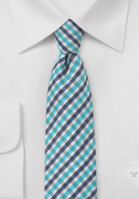 Modern Gingham Tie in Blues and Whites