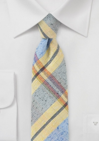 Soft Yellow and Blue Summer Plaid Tie