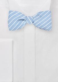 Summer Linen Bow Tie in Light Blue