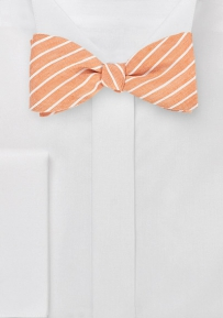 Striped Linen Bow Tie in Peach